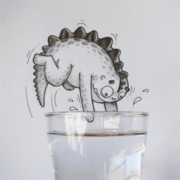 可爱手绘小恐龙图片铅笔画 铅笔画漫画小恐龙